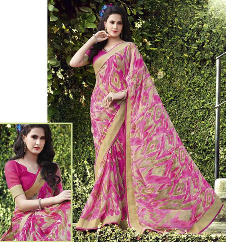 Pink Color Georgette Casual Wear Sarees : Kalpita Collection  YF-40450