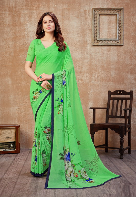 Green and Blue Color Georgette Casual Wear Saree -  Fulki Collection  YF#10976