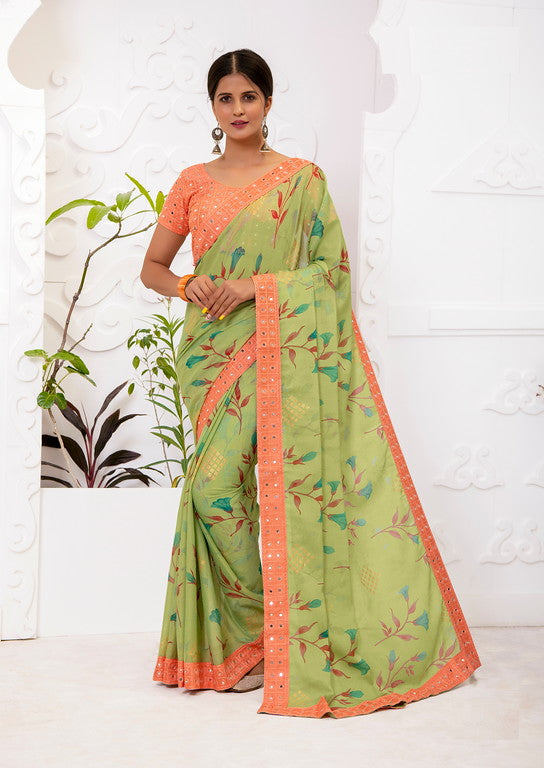 Green and Orange Color Chiffon Brasso  Kitty Party  Wear Saree - Ekaj Collection YF#10969