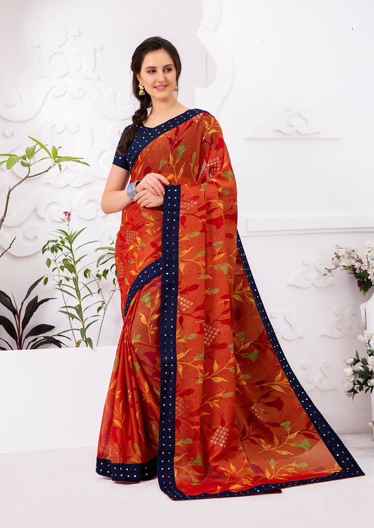 Brown and Blue Color Chiffon Brasso  Kitty Party  Wear Saree - Ekaj Collection YF#10971