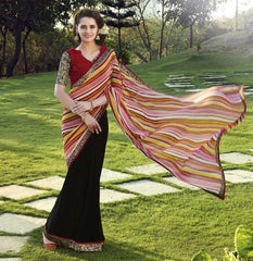 Black Color Georgette Casual Wear Sarees : Kalpita Collection  YF-40456