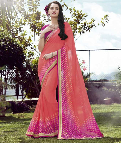 Peach& Pink Color Georgette Casual Wear Sarees : Kalpita Collection  YF-40460