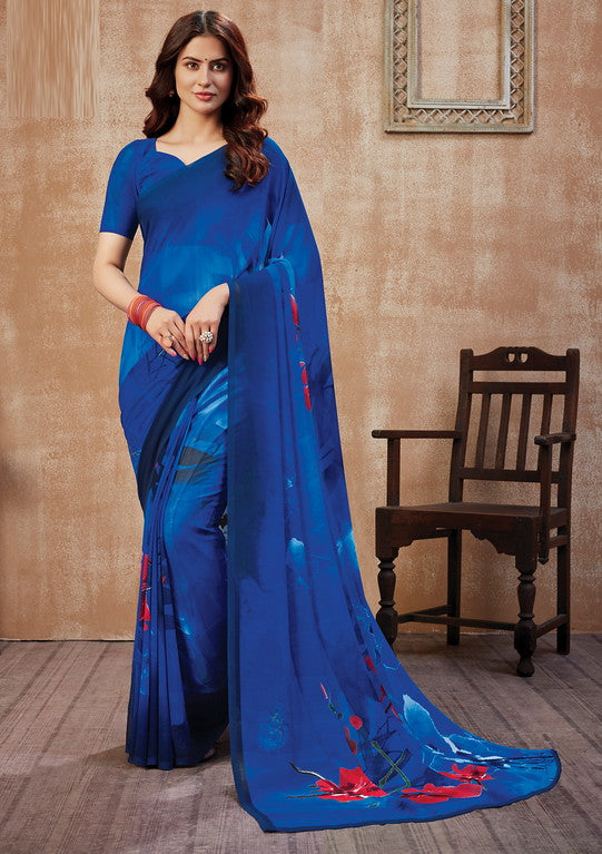 Blue Color Georgette Casual Wear Saree -  Fulki Collection  YF#10977