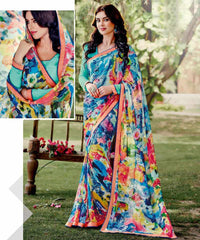 Multi Color Georgette Kitty Party Sarees : Leena Collection  YF-42435