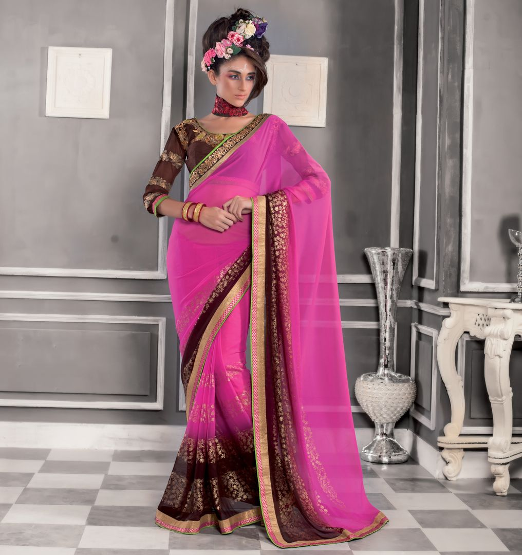 Pink Color Georgette Party Wear Sarees : Pinati Collection  NYF-3339 - YellowFashion.in