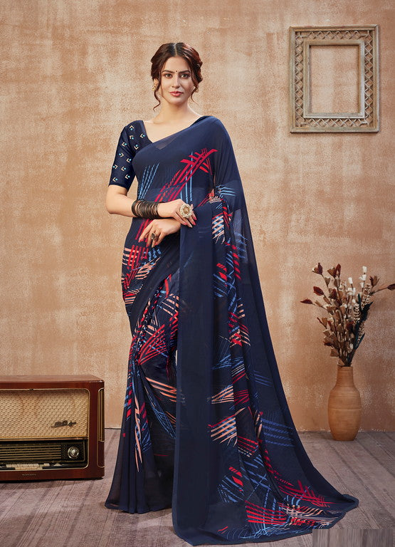 Blue Color Georgette Casual Wear Saree -  Fulki Collection  YF#10979