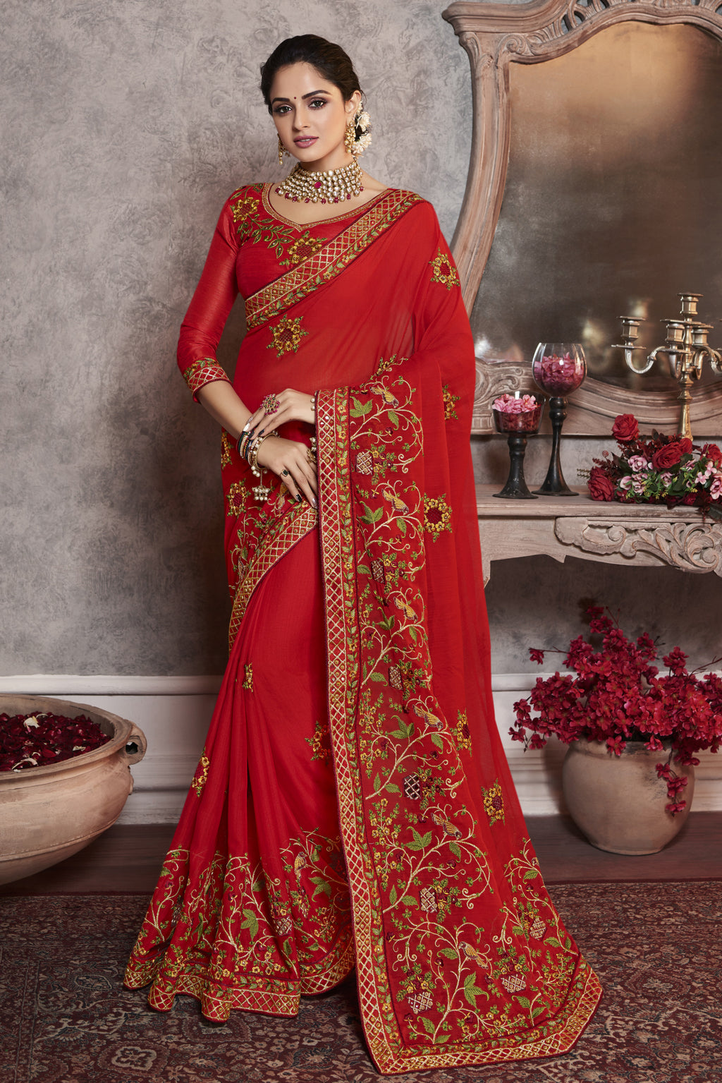 Red Color Wrinkle Crepe Pretty Office Party Sarees NYF-6069