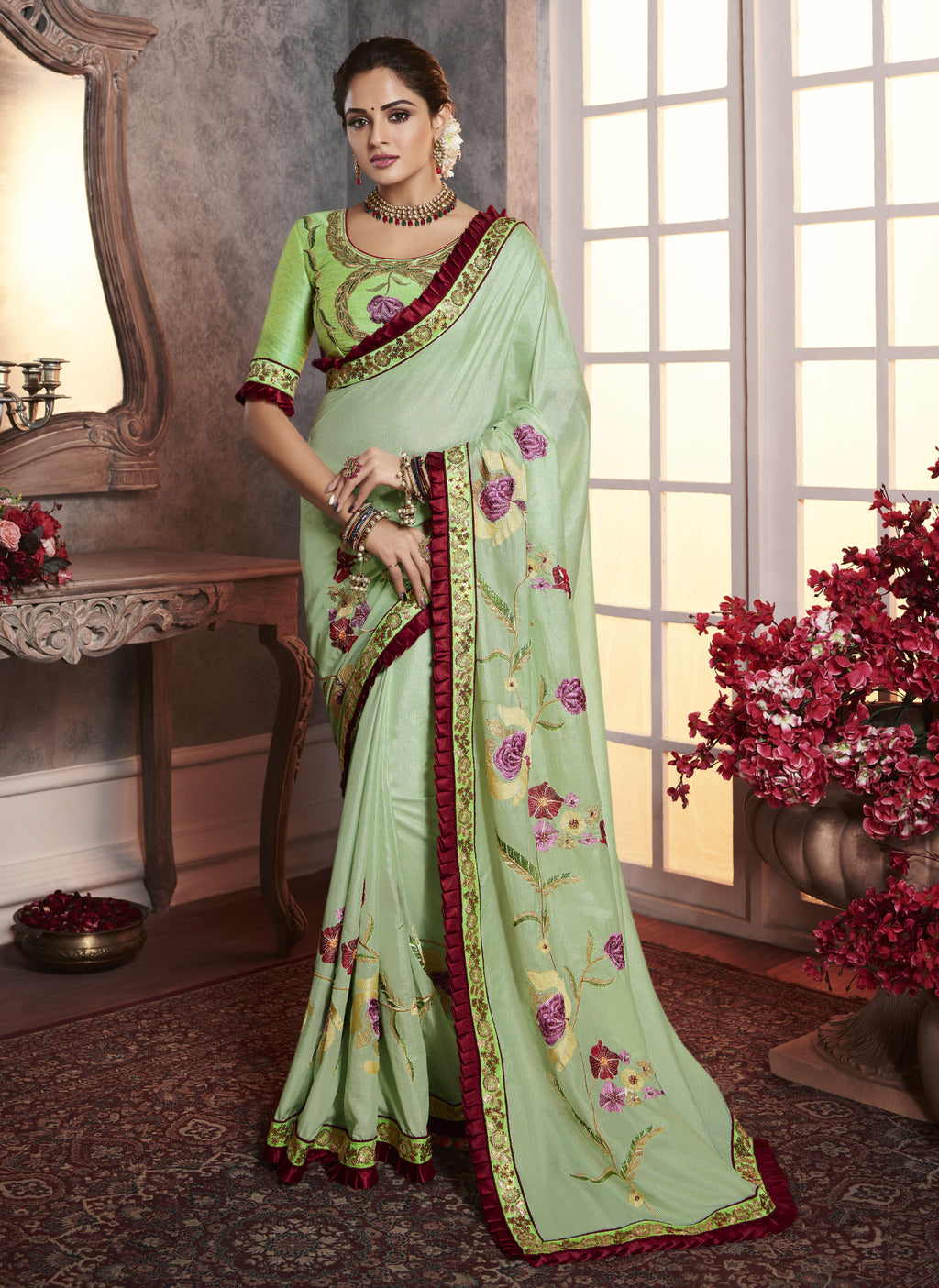Aqua Green Color Wrinkle Crepe Pretty Office Party Sarees NYF-6070