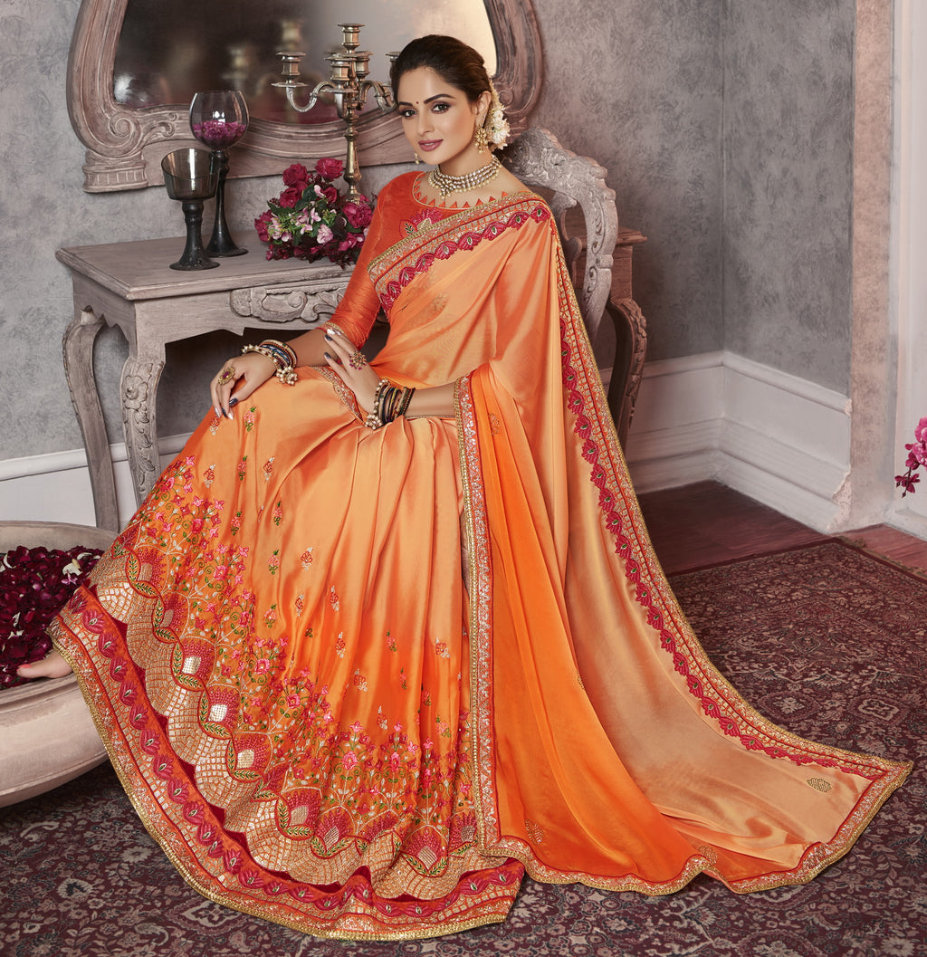 Peach & Orange Color Wrinkle Crepe Pretty Office Party Sarees NYF-6071