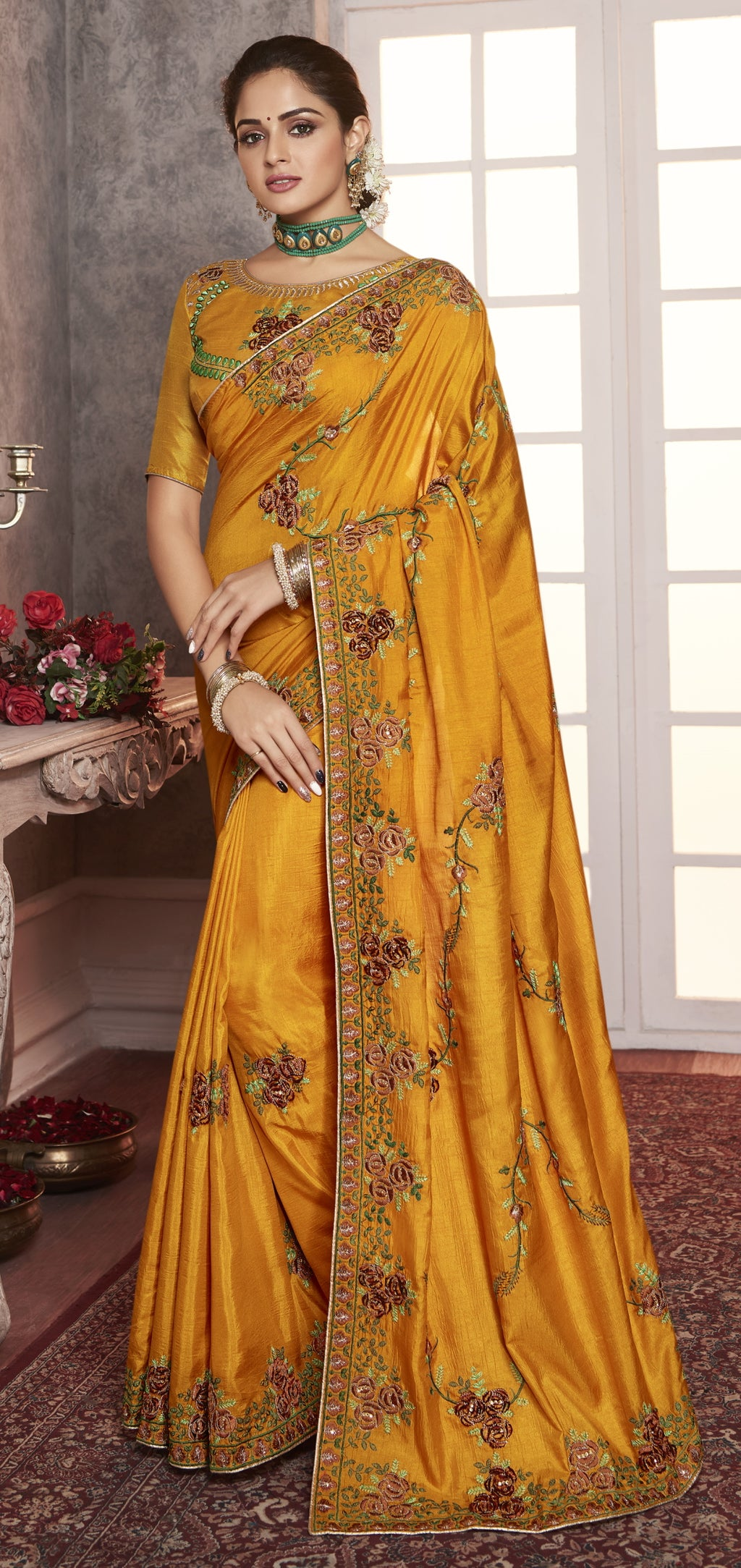 Golden Yellow Color Wrinkle Crepe Pretty Office Party Sarees NYF-6072