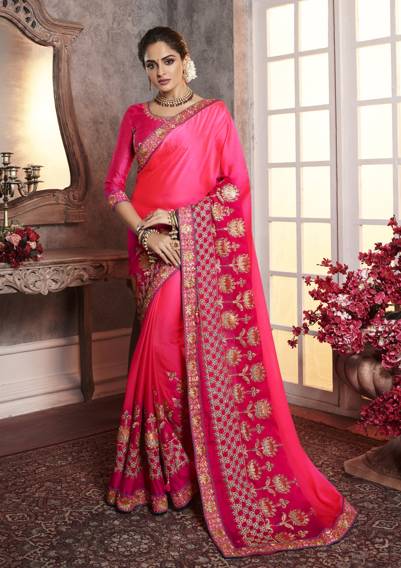 Light & Dark Pink Color Wrinkle Crepe Pretty Office Party Sarees NYF-6073