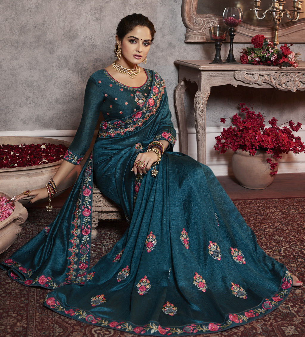 Rama Blue Color Wrinkle Crepe Pretty Office Party Sarees NYF-6074