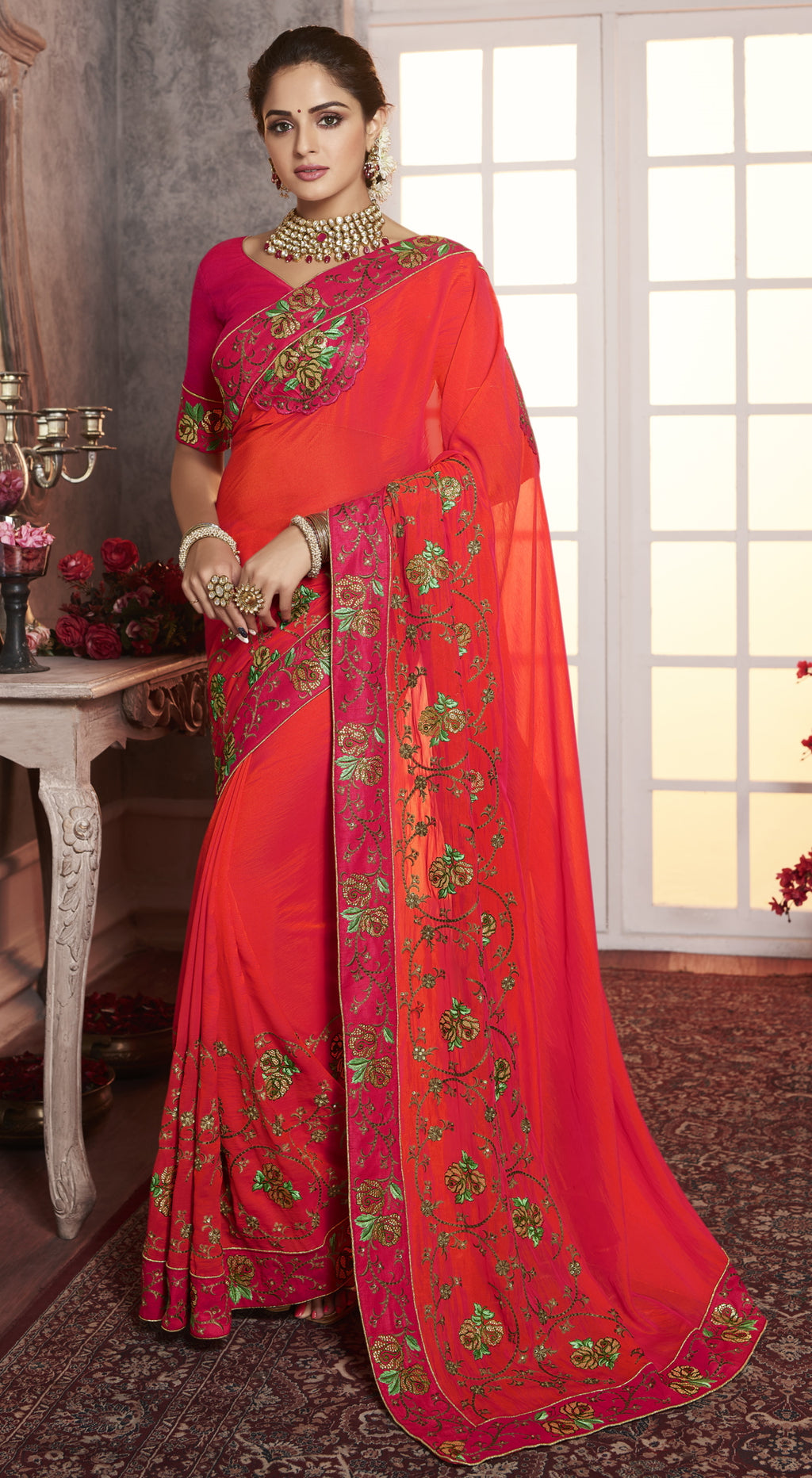 Orange Color Wrinkle Crepe Pretty Office Party Sarees NYF-6075