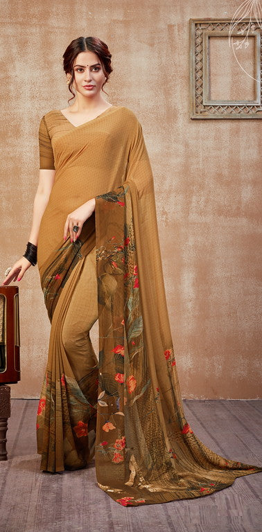 Shades of Brown Color Georgette Casual Wear Saree -  Fulki Collection  YF#10980