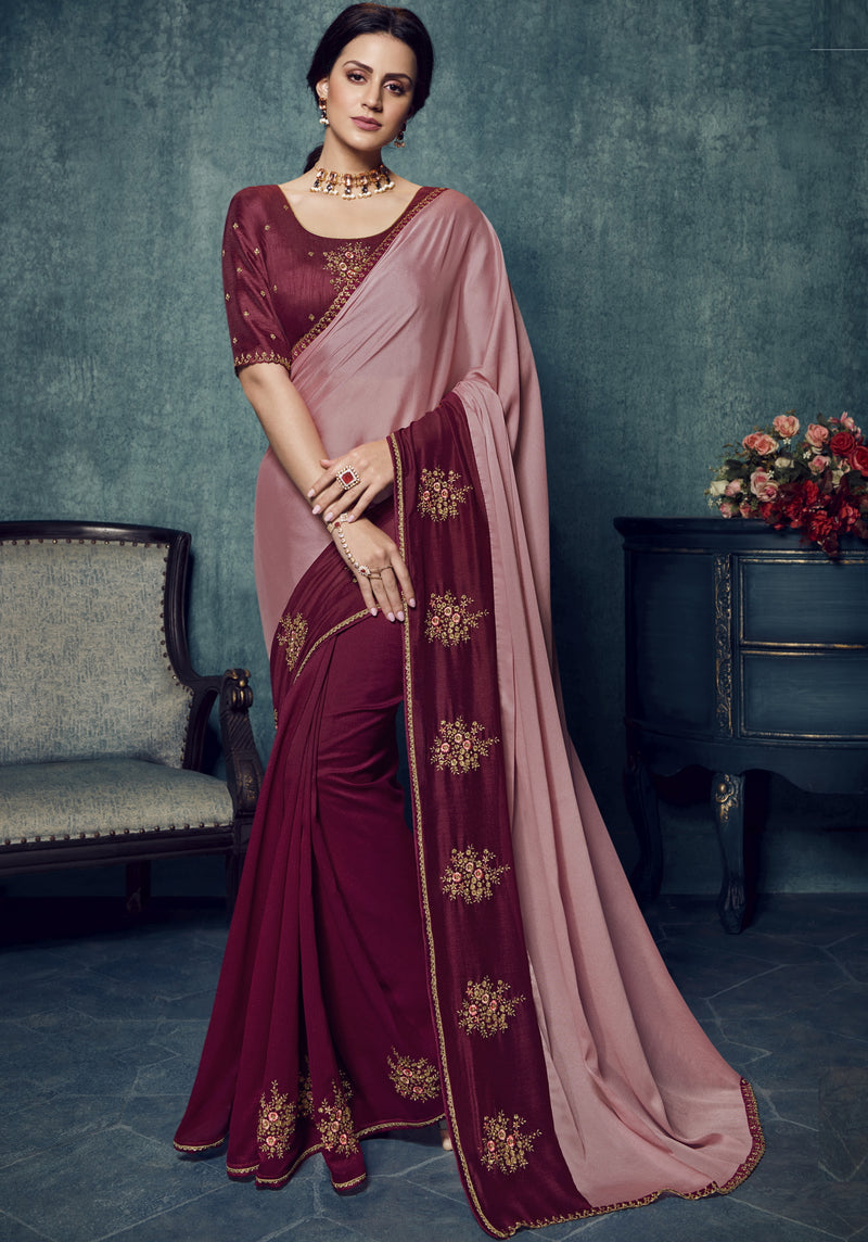 Pink & Maroon Color Dola Silk Exquisite Office Party Sarees NYF-6184