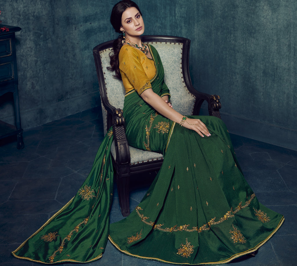 Green Color Dola Silk Exquisite Office Party Sarees NYF-6185