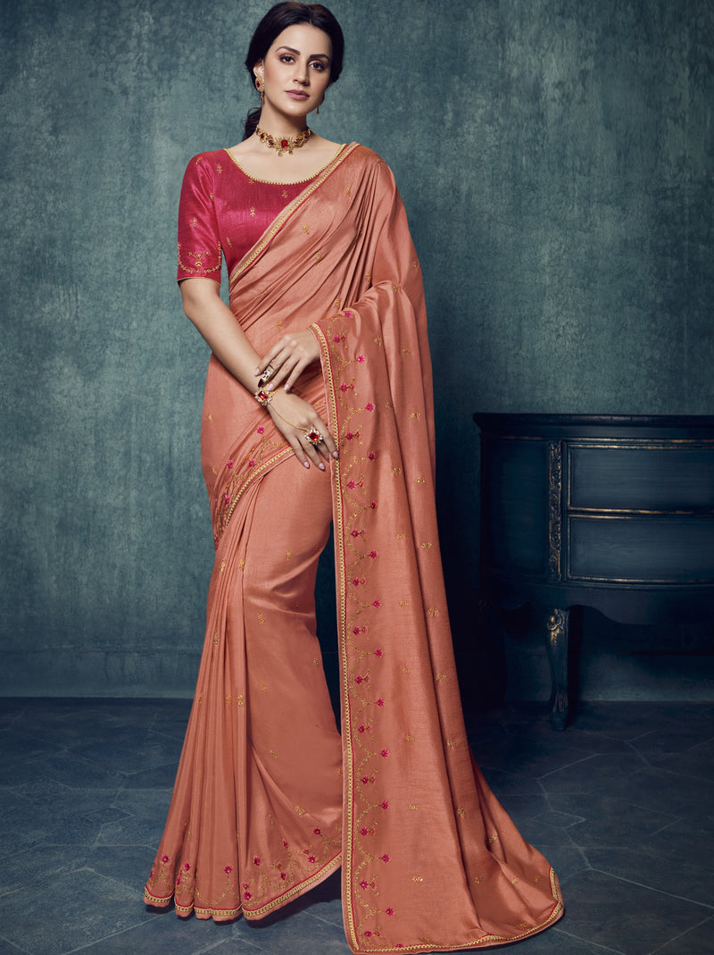 Peach Color Dola Silk Exquisite Office Party Sarees NYF-6186