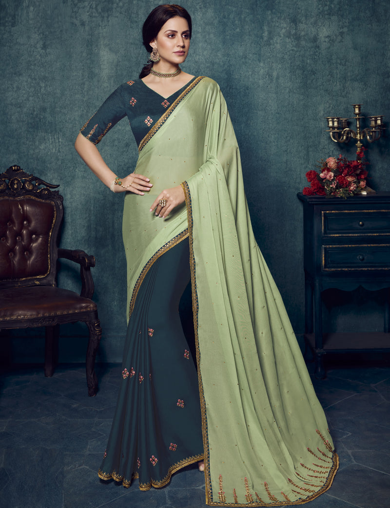 Pastel Green & Blue Color Dola Silk Exquisite Office Party Sarees NYF-6187