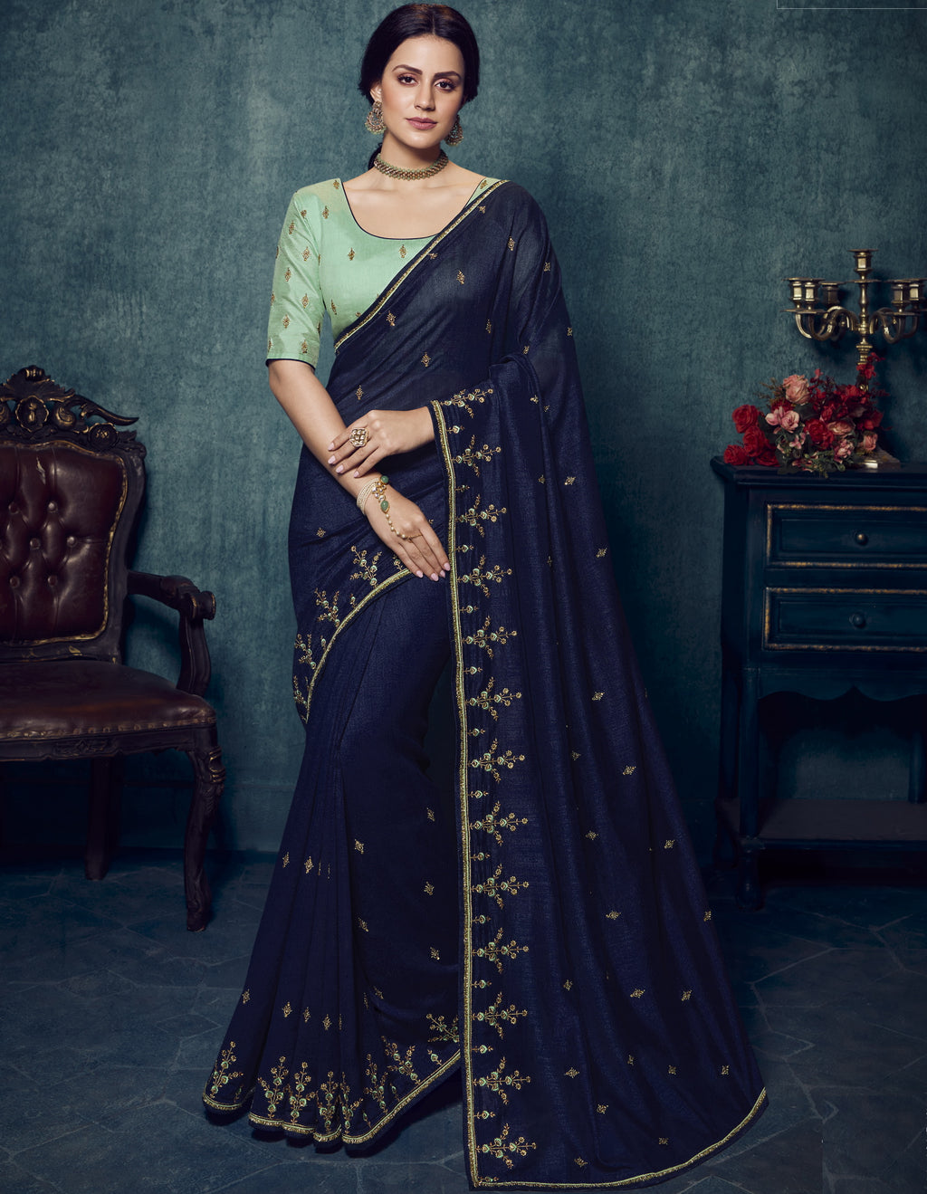 Blue Color Dola Silk Exquisite Office Party Sarees NYF-6189
