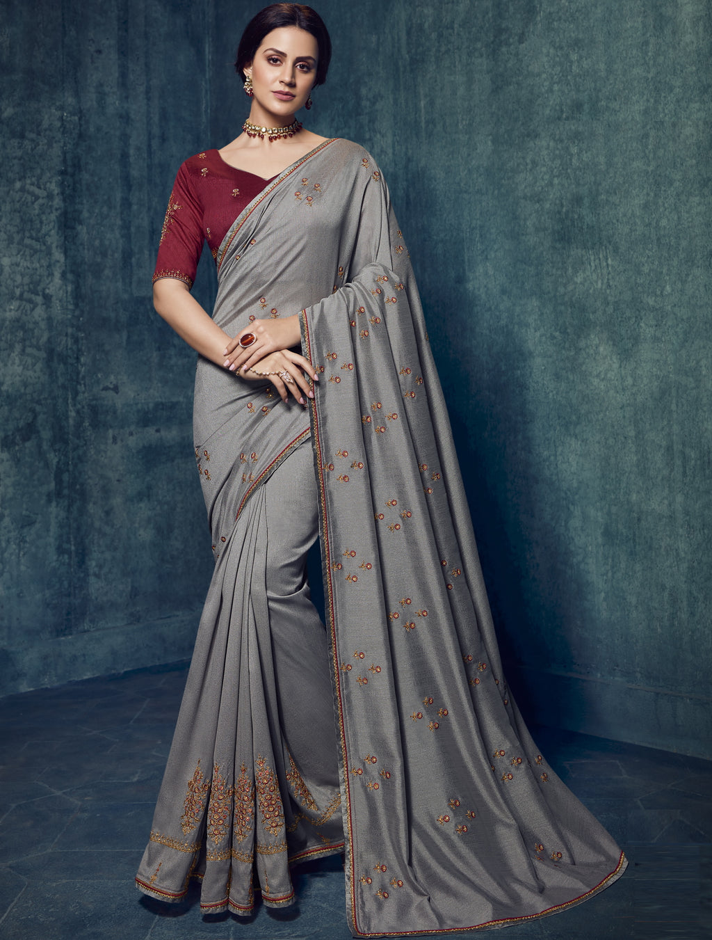 Grey Color Dola Silk Exquisite Office Party Sarees NYF-6190