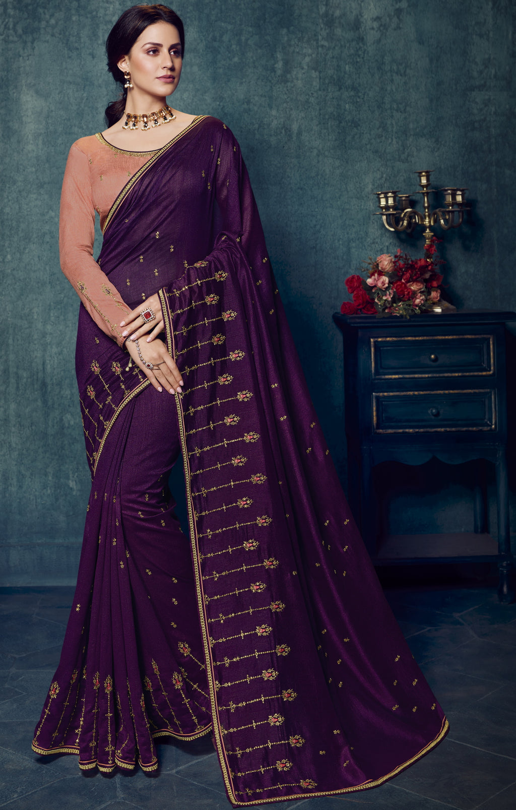Purple Color Dola Silk Exquisite Office Party Sarees NYF-6191