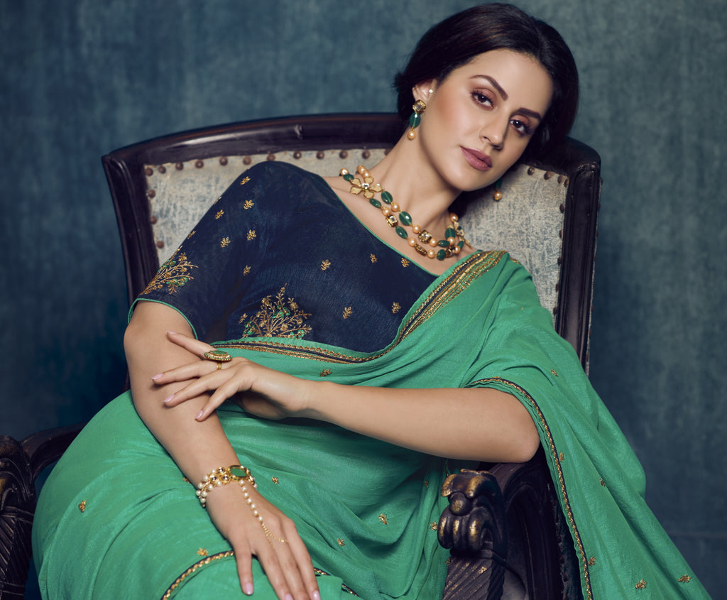 Aqua Green Color Dola Silk Exquisite Office Party Sarees NYF-6192