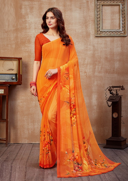 Shades of Orange Color Georgette Casual Wear Saree -  Fulki Collection  YF#10981