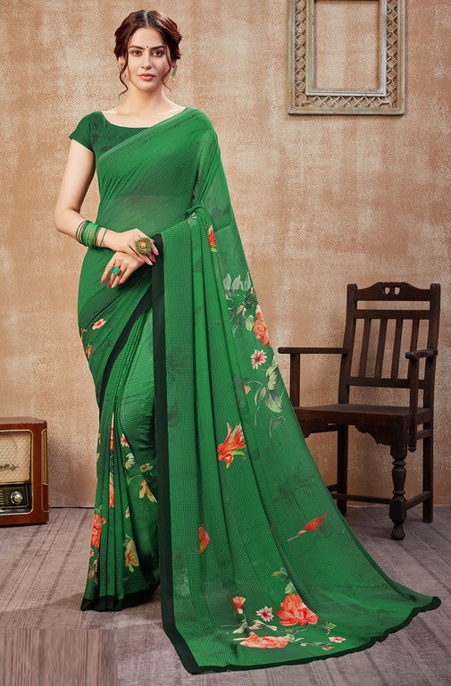 Green Color Georgette Casual Wear Saree -  Fulki Collection  YF#10982