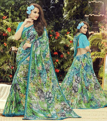 Blue & Green Color Georgette Casual Wear Sarees : Dharini Collection  YF-44332