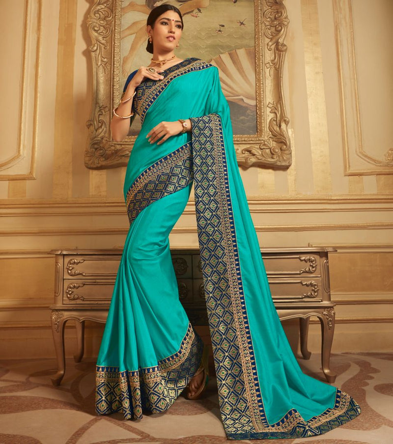 Firozi Color Silk Gorgeous Designer Sarees NYF-5032