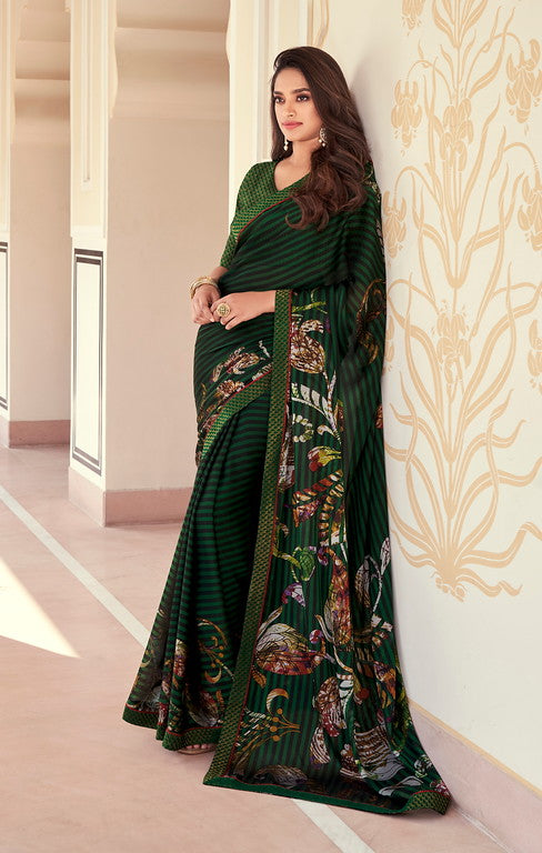 Green and Black Color Georgette Casual Wear Saree -   Iksha  Collection  YF#11408