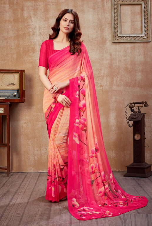 Light Orange and Pink Color Georgette Casual Wear Saree -  Fulki Collection  YF#10983