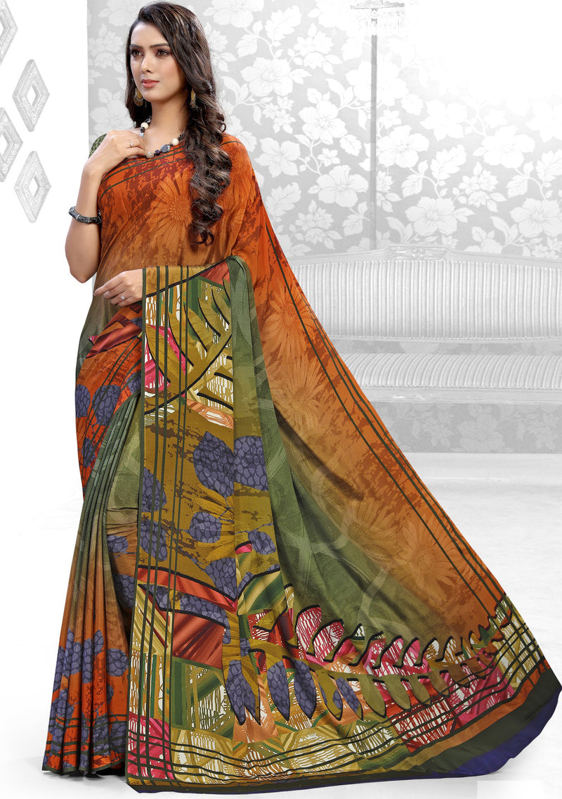 Multi Color Crepe Kitty Party Sarees NYF-8835