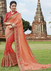 Peach & Orange Color Half Brasso & Half Raw Silk Designer Party Wear Sarees : Pratishta Collection  YF-54905