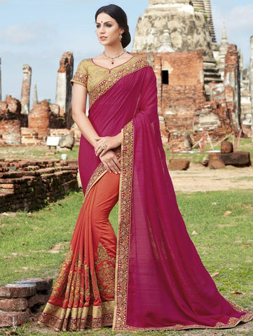 Magenta & Orange Color Half Georgette & Half Raw Silk Designer Party Wear Sarees : Pratishta Collection  YF-54906