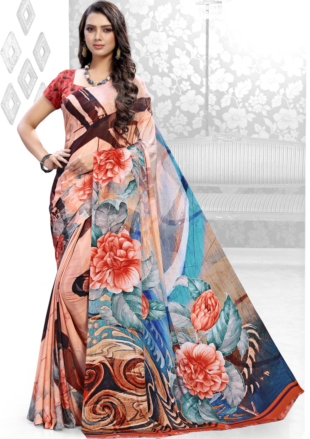 Multi Color Crepe Kitty Party Sarees NYF-8837