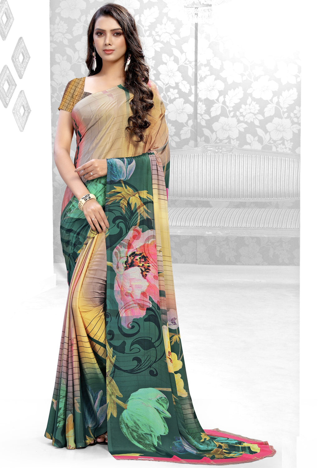 Multi Color Crepe Kitty Party Sarees NYF-8839