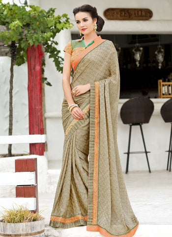 Shades Of Copper Color Satin Weaving Checks Party Wear Sarees : Nishika Collection  YF-38497