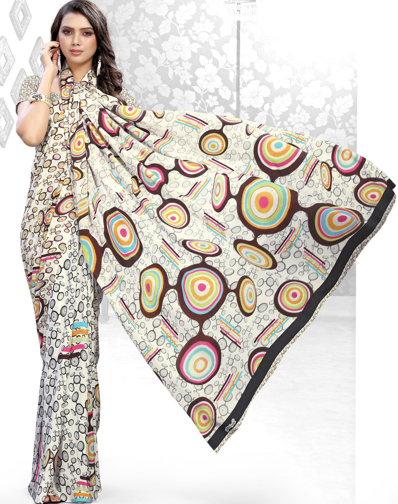 Cream Color Crepe Kitty Party Sarees NYF-8843