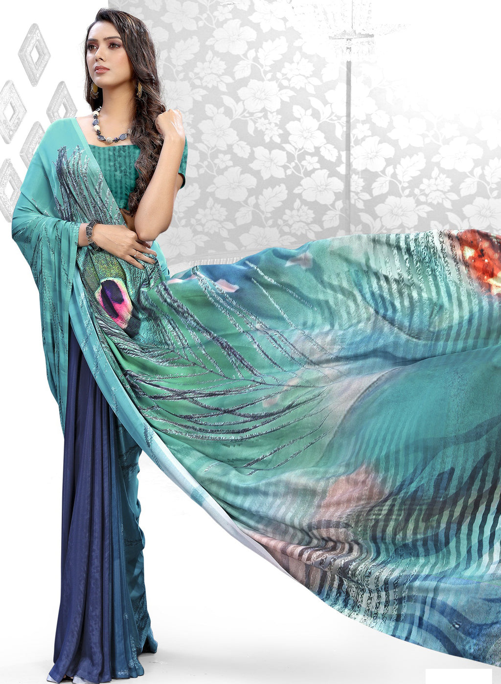 Blue & Sea Green Color Crepe Kitty Party Sarees NYF-8845