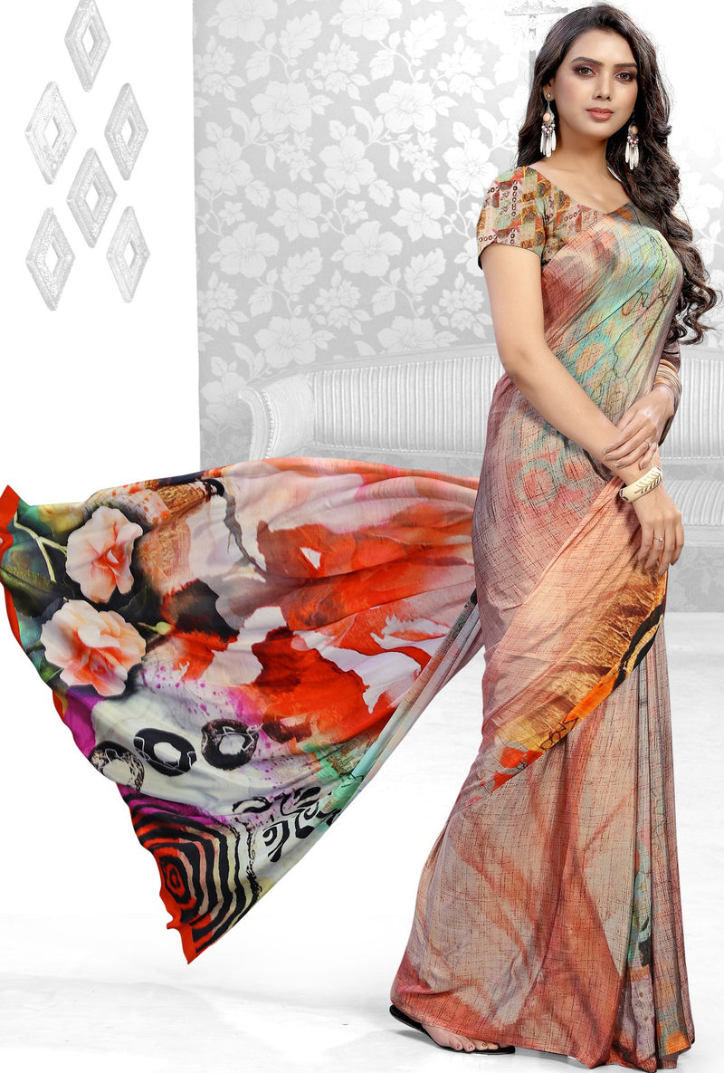 Multi Color Crepe Kitty Party Sarees NYF-8846