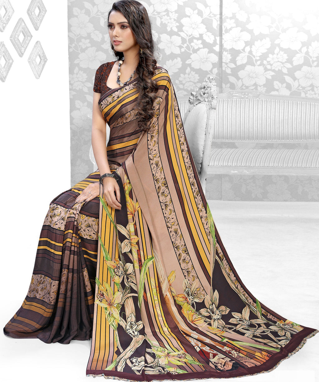 Brown Color Crepe Kitty Party Sarees NYF-8847