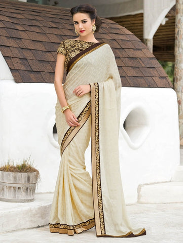 Cream & Brown Color Satin Weaving Checks Party Wear Sarees : Nishika Collection  YF-38498