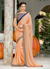 Peach & Purple Color Satin Weaving Checks Party Wear Sarees : Nishika Collection  YF-38499