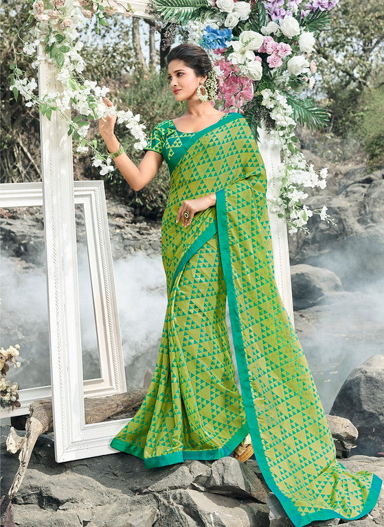 Green and Blue Color Wrinkle Chiffon Casual Wear Saree-  Orchid Collection  YF#11487