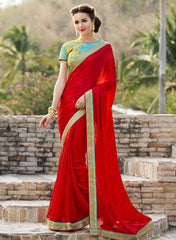 Red Color Satin Weaving Checks Party Wear Sarees : Nishika Collection  YF-38500