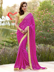 Rani Pink Color Satin Weaving Checks Party Wear Sarees : Nishika Collection  YF-38501