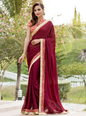 Maroon Color Satin Weaving Checks Party Wear Sarees : Nishika Collection  YF-38502