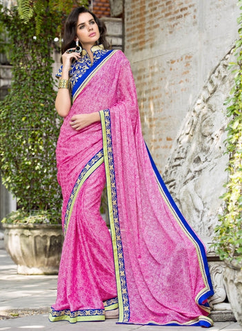 Pink Color Satin Weaving Checks Party Wear Sarees : Nishika Collection  YF-38504