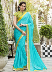 Firozi Color Satin Weaving Checks Party Wear Sarees : Nishika Collection  YF-38505